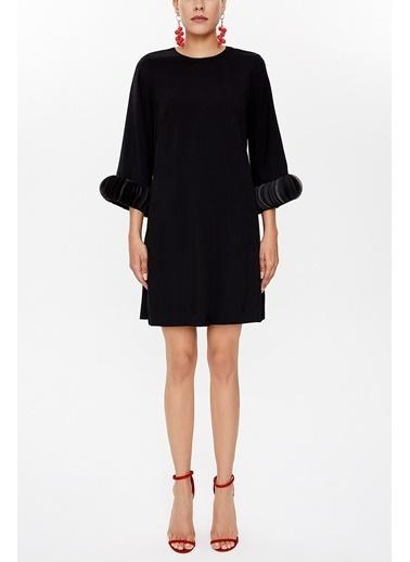 Societa Kolları aksesuar detaylı mini elbise 93051 Siyah